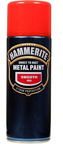 Hammerite Aerosol (Hammerite Metal Paint Smooth Red 400ml Aerosol by Hammerite)