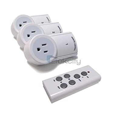 Etekcity Wireless Remote Control Electrical Outlet Switch for Household Appliances, White (Fixed Code, 3Rx-1Tx)