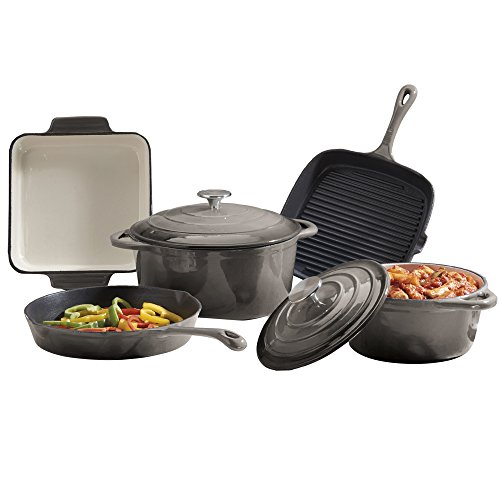 Cooks Professional Deluxe Cast Iron Cookware Complete 5 Piece Cooking Set. (Grey)