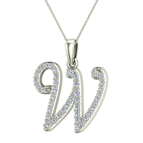 Initial 18k White Gold Pendant (W Letter Initial Monogram Diamond Charm Necklace 0.69 Carat Total 18K White Gold)