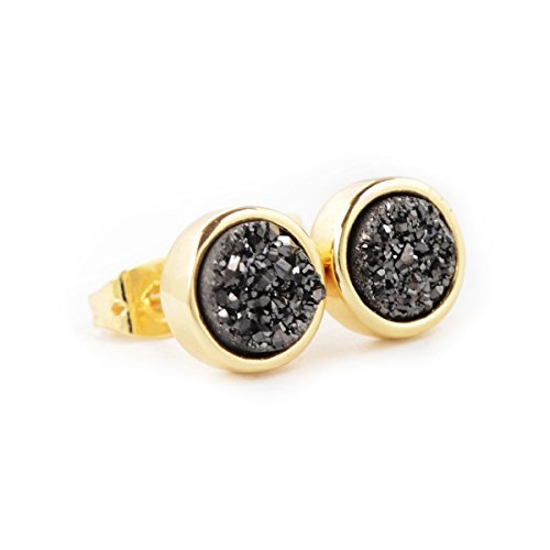 Gold Plated Titanium Earrings (JAB 8mm Round Natural Agate Titanium Druzy Stud Earrings Gold Plated Copper Drusy Jewelry (black) )