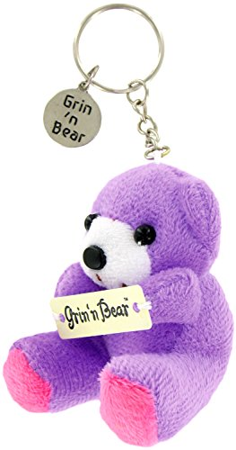 (Adorable GRIN BEAR KEYCHAIN ~ One PURPLE Keychain ~ Cute Gift for Mom Daughter Teenager ~ Birthday Christmas Holidays New Driver ~ Party Favor ~ FEEL BETTER GIFT ~Secret Valentine's ~ EASTER by DM)