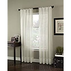 Curtainworks 1Q804008OY Soho Voile Curtain Panel, Oyster, 108""