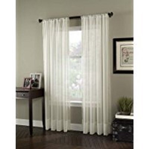 """Curtainworks 1Q804008OY Soho Voile Curtain Panel, Oyster, 108"""""""