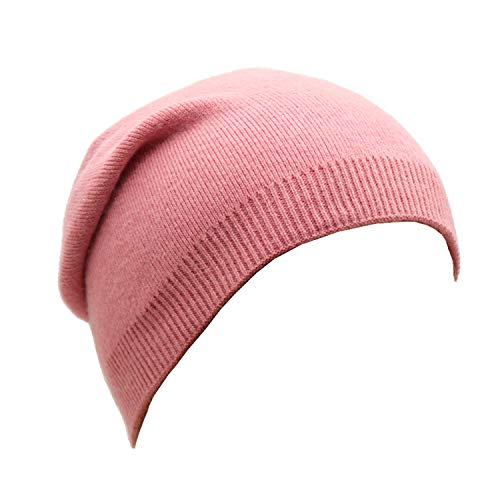 (Wheebo Beanie Hat Cashmere Stretch Skull Ski Cap for Women Men -Winter Knit Hat Solid Color Unisex Style (Pink))