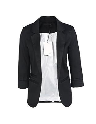 Richlulu Womens Charming Business Lapel Three Quarter Sleeve Colorful Slim Fit Blazer Suit Coat