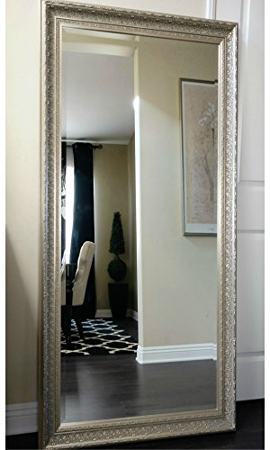 West Frames Elegance Ornate Embossed Champagne Silver Gold Wood Framed Floor Mirror (Mirror Against Large Lean Wall)