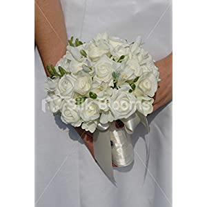 Simple Real Touch & Foam Rose & Freesia Bridal Wedding Bouquet