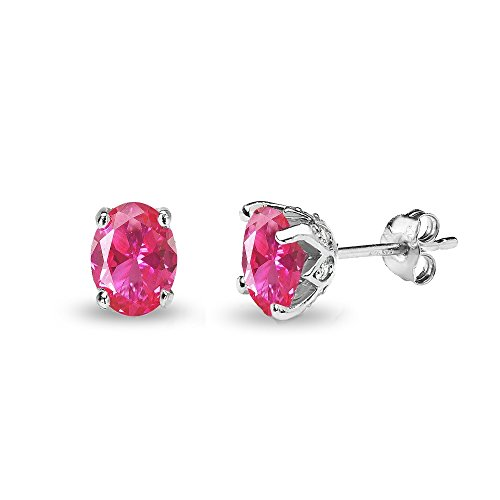 Oval Earrings Sapphire Pink (Sterling Silver Created Pink Sapphire and White Topaz Oval Crown Stud Earrings)