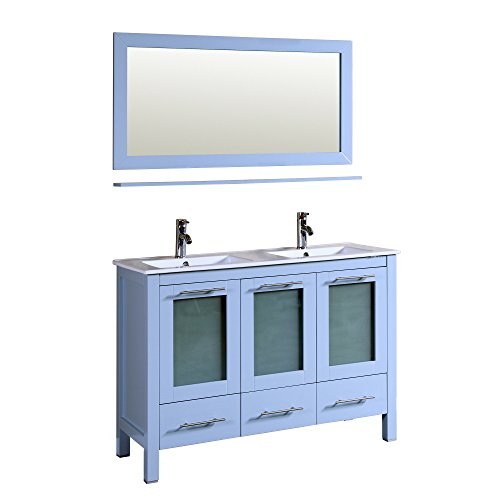 Sabriel 48' Double Bathroom grey Vanity with Porcelain Top and Mirror