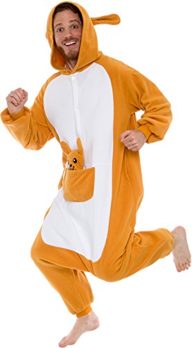 Silver Lilly Unisex Adult Pajamas - Plush One Piece Cosplay Animal Kangaroo Costume (Brown, L) -