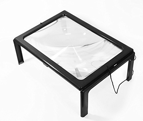 soled A4 Full Page Large Hands-Free Page Magnifier for Reading (Ul Metal Floor Lamp)