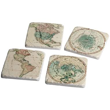 Global Coasters Set Of 4, SET OF 4, IVORY GREEN