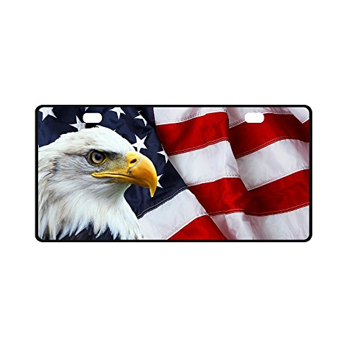 - INTERESTPRINT Waving American Flag with Bald Eagle Automotive Metal License Plates Decor Decoration, Car Tag for Woman Man - 11.8 x 6.1 Inch
