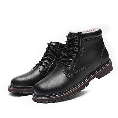 Casual Redonda De Trabajo Botines Superior Polar Faux Dentro Uso Zapatos Clásico Hombre Moda Punta Alta Negro Todo Para Chenjuan Invierno Bota wXY07qpp