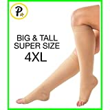 Presadee (BIG & TALL SUPER SIZE) Traditional Open Toe 20-30 mmHg Graduated Medical Compression Ankle Leg Calf Swelling Relief Support Sock (4XL, Beige)