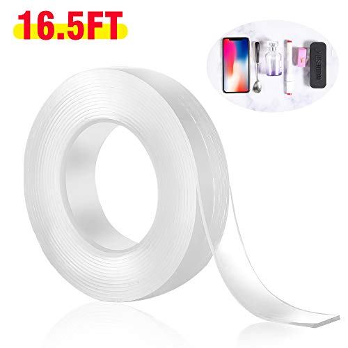 (Double Sided Adhesive Grip Tape,TracelessTransparent Gel Mat Tape Nano Washable Removable and Reusable Sticky Anti-Slip Gel Tape for Paste Photos Posters, Fix Carpet Mats or Office Wall Decor etc(5m)