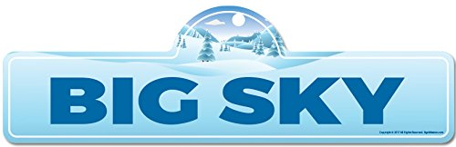 Big Sky Street Sign | Indoor/Outdoor |Skiing, Skier, Snowboarder, Décor for Ski Lodge, Cabin, Mountian House | SignMission personalized (Big Sky Cabins)