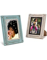 Rustic Picture Frames Frame Set of 2, White & Teal, Farmhouse Picture Frames for Wall with Real Glass, Rustic Home Decor Picture Frame