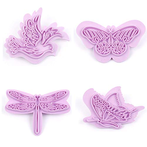 WSERE Plastic Clay Cutters Cookie Fondant Cutter Set of 4, Dragonfly Bird Butterfly Shapes Biscuit Cake Mold Decor Cute Baking Mould Decoration Tools