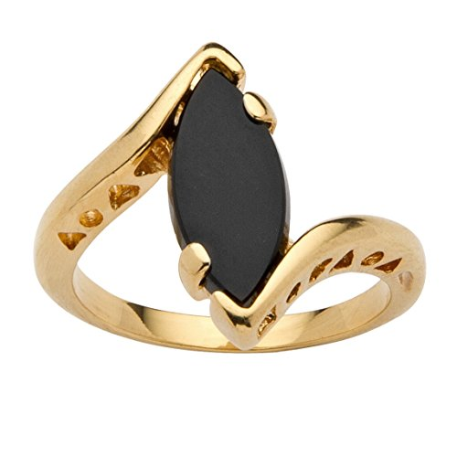 (Palm Beach Jewelry Genuine Black Onyx 14k Yellow Gold-Plated Classic Marquise Bypass Ring Size 9)