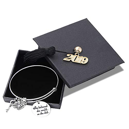 M MOOHAM Inspirational Graduation Gifts Bracelet for Her - Class of 2019 Adjustable Bracelet Personalized Charms Engraved Inspirational Mantra Saying with 2019 Graduation Cap for Her Him
