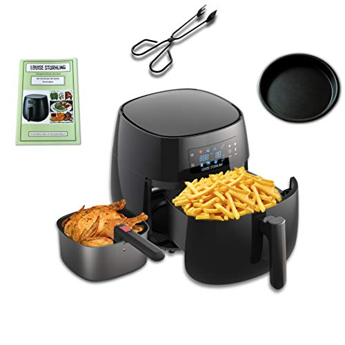 LOUISE STURHLING All-Natural Healthy Ceramic Coated 4.0L Air Fryer. BPA-FREE, PTFE & PFOA-FREE, 7-in-1 Pre-programmed One-touch Settings, Exclusive BONUS Items - FREE COOKBOOK, TONGS & PIZZA PAN (Sterling Accessory Ceramic)