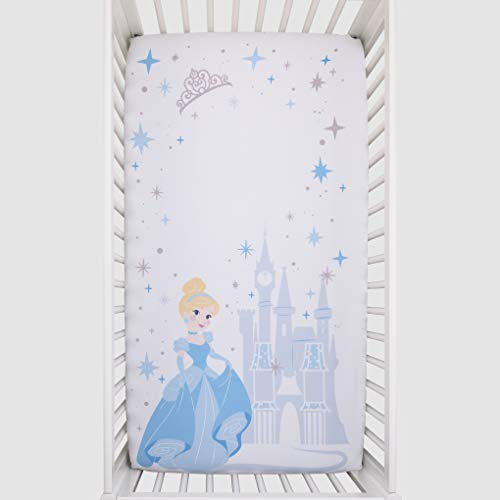 Disney Princess Cinderella - Light Blue & White Photo Op Fitted Crib Sheet, Blue, White