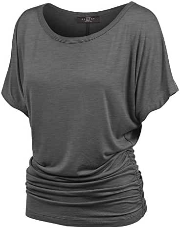 MBJ Womens Short Sleeve Boat Neck Solid Shirring Dolman Drape Top - Made in USA