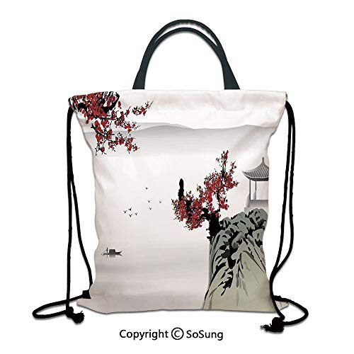 Asian Decor 3D Print Drawstring Bag String Backpack,Asian River Scenery with Cherry Blossoms and Boat Cultural Hints Mystical View Artsy Work,for Travel Gym School Beach ShoppingGrey Red