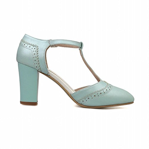 Carol Scarpe Moda Donna Fibbia Dolce T-strap Eleganza Punta-punta Sandalo Alto Tacco Alto Blu
