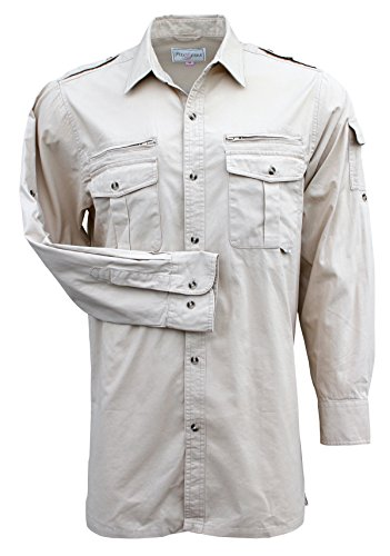 Foxfire Thunder River Gear Mens Long Sleeve Cotton Travel Safari Passport Shirt (Cotton Poplin Field Shirt)