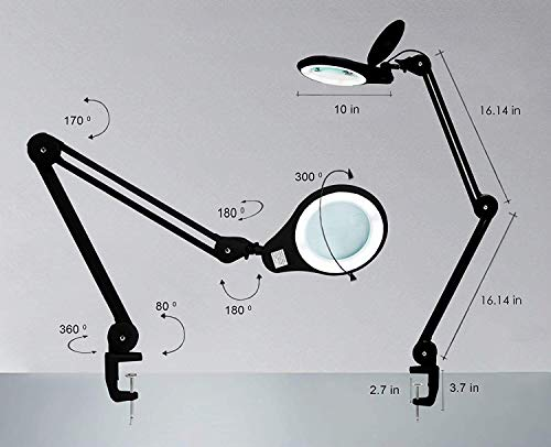 (New Model) Neatfi Bifocals 1,200 Lumens Super LED Magnifying Lamp with Clamp, 5 Diopter with 20 Diopter, Dimmable, 60 Pcs SMD LED, 5 Inches Diameter Lens, Adjustable Arm Utility Clamp (Black)