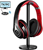 Mpow TV Headphones Over Ear, 059 Bluetooth Headphones with Upgraded 5.0 Bluetooth Transmitter Headphone Stand, Foldable Hi-Fi Stereo Wireless TV Headset, Plug & Play for Cell Phones TV PC AV Receiver