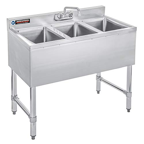 Durasteel 3 Compartment Stainless Steel Bar Sink With 10 L X 14 W X 10 D Bowl Underbar Basin Nsf Certified No Drainboard Faucet Included Restaurant Kitchen Hotel Bar On Galleon Philippines