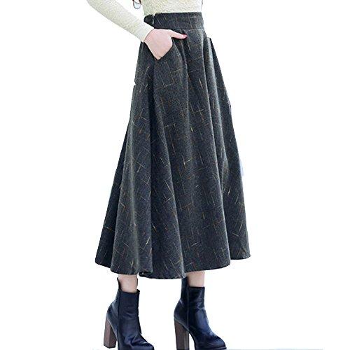 TEERFU - Falda - plisado - para mujer gris oscuro