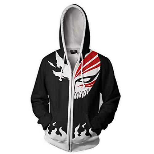 CHENMA Men Bleach Cosplay Jacket Long Sleeve Full-Zip Bomber Jacket Hooded Varsity Jacket