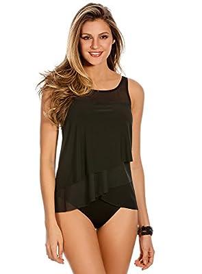 Miraclesuit Women's Swimwear Illusionist Mirage High Neckline Underwire Bra Tankini Bathing Suit Top, Black, 12