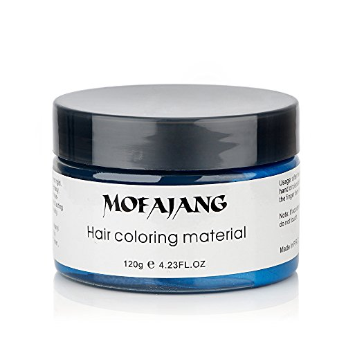 MOFAJANG Hair Color Wax, Instant Blue Hair Color Wax, Temporary Hairstyle Cream 4.23 oz, Hair Pomades, Hairstyle Wax for Men and Women (Blue) by MS.DEAR (Image #5)