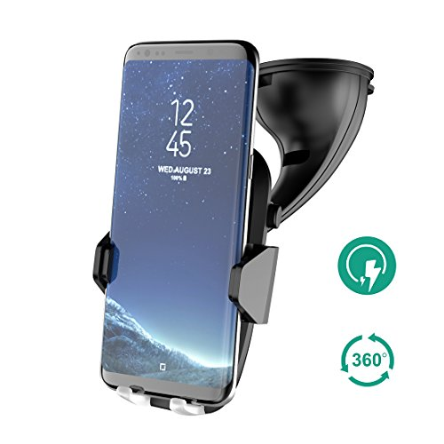 Price comparison product image Wireless Car Charger,  Auckly Qi Fast Wireless Charger Car Phone Holder, With Type C Cable Port Car Mount Air Vent Stand Fast Car Charging Pad for Samsung Galaxy Note 8 S8 Plus S8 S7 S7 Edge Note 5 etc