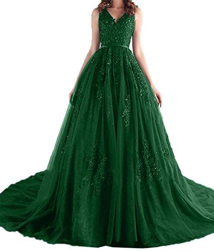 Traumhaft Abschlussballkleider Ausschnitt Charmant Abendkleider Damen Lang Dunkel Abiballkleider V Gruen Spitze Promkleider Bq1ZH