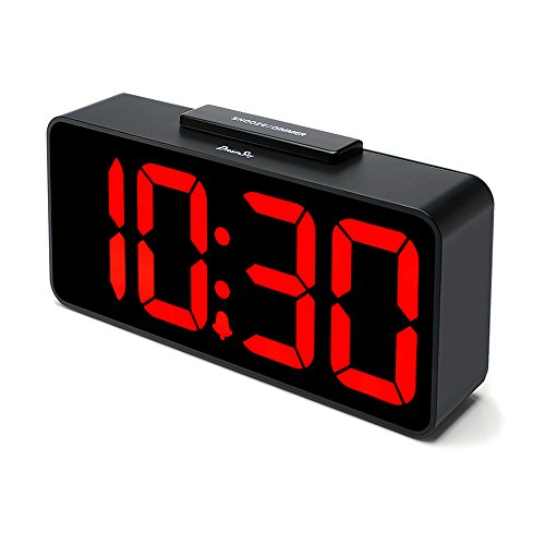 DreamSky Auto Time Set Alarm Clock With USB Port For Charging, Snooze, Dimmer -Extra Large Impaired Vision Digital Red LED Bedside Desk Clock, Auto DST.