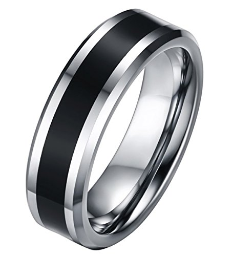 ALEXTINA Men's 6MM 2 Tone Silver Tungsten Carbide Wedding Ring Black Enamel Inlay Size ()