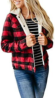 FOBEXISS Women's Long Sleeve Jacket Turtleneck Button Down Plaid Color Block Sherpa Outer