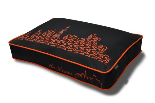 P.L.A.Y. Pet Lifestyle And You Rectangular Bed, SFyline – Black/Orange, My Pet Supplies