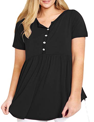YASAKO Button Down Shirts for Women, Ladies Plus Size Henley V Neck Short Sleeve Tops Slim Fit Pleated Casual Tunic Blouses Black 5XL