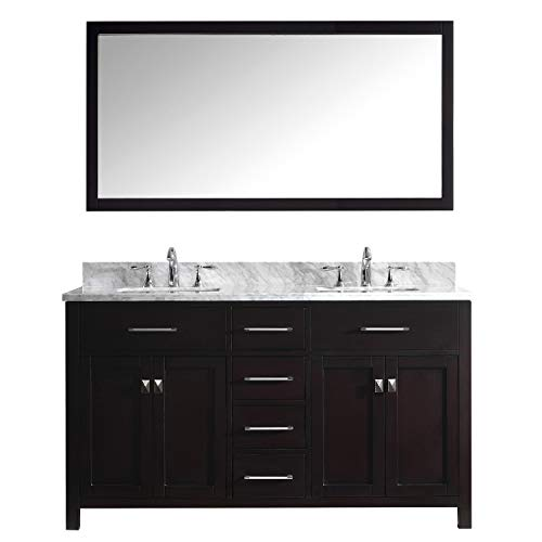 Virtu USA Caroline 60 inch Double Sink Bathroom Vanity Set in Espresso w/ Square Undermount Sink, Italian Carrara White Marble Countertop, No Faucet, 1 Mirror - - Vanity Espresso Basin