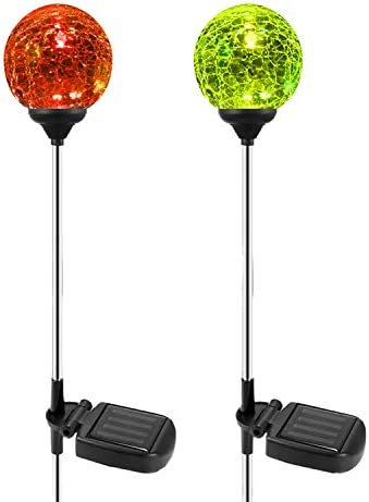 Solar Garden Path Lights Outdoor, 2-Pack of OxyLED Solar Globe Light Stakes, Color-Changing LED Garden Light Landscape Lighting, Auto On Off Dusk to Dawn, Solar Powered Halloween Christmas Decor