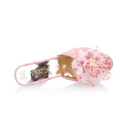 VogueZone009 Womens Open Peep Toe High Heel Platform Stiletto PU Printing Sandals with Flower, Pink, 5.5 UK