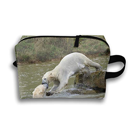 Fierce Polar Bear Makeup Pouch Zipper Coin Organizer Costmetic -